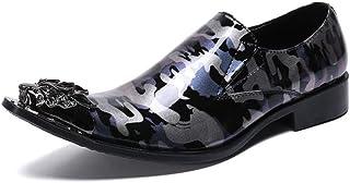 YOWAX Homme Oxford Chaussures en Cuir Chaussures d'uniformes Habillées métal pour Bout Pointu Robe de Soirée de Mariage d'...