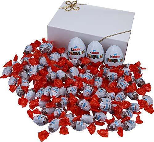 Mix aus 3 x Überraschungsei und 550g Schokobons (ca. 95 Stück) in VonBueren Geschenkverpackung, wiederverwendbar (Klappschachtel weiß)