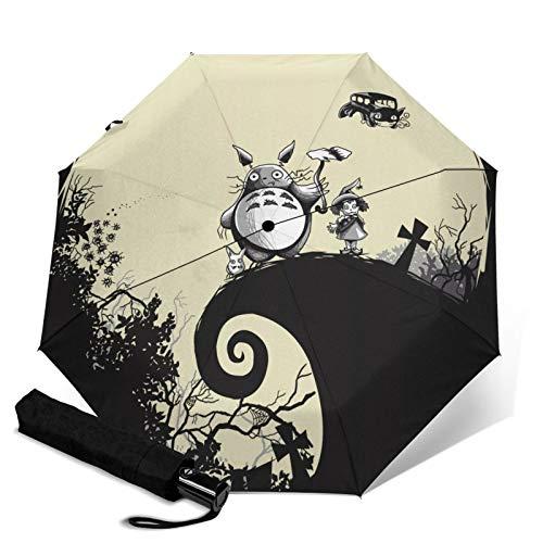 Anime My Totoro Regenschirm, faltbar, automatisches Öffnen und Schließen, leicht, kompakt, tragbar, für Reisen, dreifach faltbar, Unisex