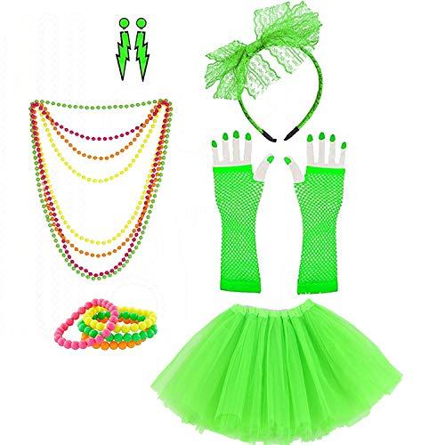 Lhasam 80s Juego de accesorios para disfraz para mujer niña disfraz de los años 80, accesorios para disfraz arcoíris de neón brazaletes collares diadema con lazo disfraz de los años 80, verde