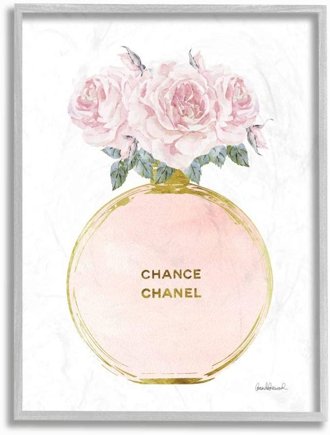 Stupell Industries Pink and Popular Gold Bottle Perfume Roses with Super sale Round