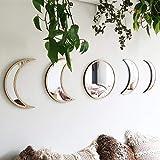 MHLYY Naturale Decorazione Specchi di Fase Lunare Acrilico con Cornice di Legno Specchio Bohemien Adesivo da Parete Autoadesiva per La Decorazione della Stanza (5pcs Wooden Color)