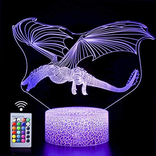 3D Dinosaure LED Lampe Art Déco Lampe la Couleur Changeant Lumières LED Décoration Lumière Télécommande 7/16 Couleurs Change Alimenté par USB Enfants Cadeau Anniversaire Décoration de Noël