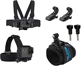 TELESIN Travel Starter Kit Chest Strap Mount Harness + Head Strap Band + 360 Wrist Strap Controller J Hook Accessories Bundle for GoPro Hero 7 Hero 2018 Hero 6 Hero 5 Black Hero 4/3+ Hero Session 4/5