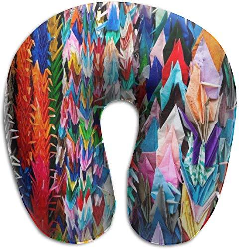 Soporte para el Cuello Almohada de Viaje Origami Multicolor Papercraft Cranes Cojín...