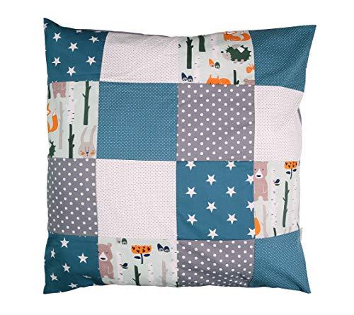 ULLENBOOM ® Baby Bezug 80x80 cm für Bettdecke & Kissen Waldtiere Petrol (Made in EU) - Bezug aus Baumwolle für Babybettwäsche oder als Kissenbezug, ideal im Kinderwagen