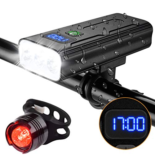 USB Rechargeable Bike Light Set Super Bright with Free Tail Light, LED 1200 Lumens Smart Digital Display & IPX5 Waterproof, Powerful Bike Headlight Suitable for All Bicycles, Mountain, Road