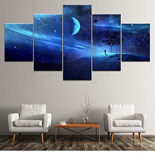 Wuyii canvas schilderkunst draak vliegen in de blauwe sterrenhemel 5 stuks muurkunst schilderij modulaire behang poster print huis decoratie 30 x 40 cm x 2/30 x 60 cm x 2/30 x 80 cm x 1.