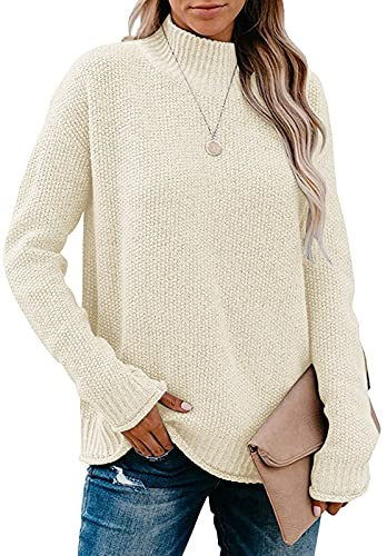 MEROKEETY Women's Long Sleeve Turtleneck Chunky Knit Sweater Casual Loose Pullover Jumper Tops Apricot