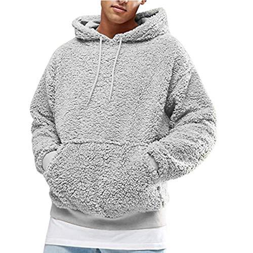 suanret Männer warme Flauschige Hoodie Casual Sweatshirt Outwear Pullover leichte Jumper Mantel Jacke Bluse Top (M, Grau)