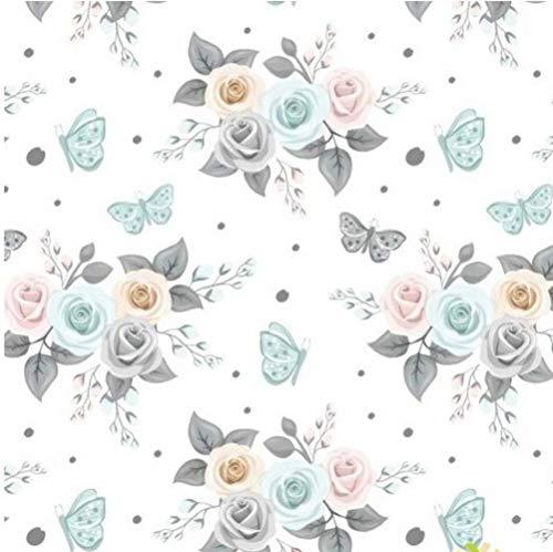 Pingianer 100x160cm 100% Baumwolle Baumwollstoff Streifen Blumen Meterware Handwerken Nähen Stoff (Blume Rosen Weiß)