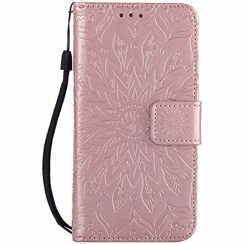 Capa para iPhone 8 [protetor de tela grátis], Dfly de couro sintético macio em relevo design mandala com função de suporte, compartimentos para cartões, capa carteira flip fina para Apple iPhone 8 (2017), ouro rosa