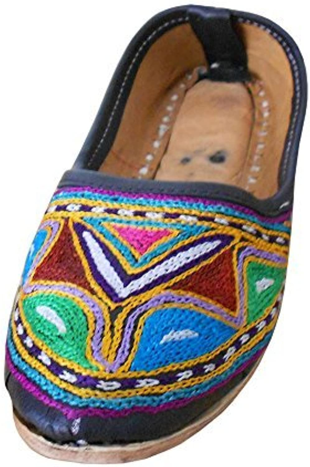 Kalra Creations Women's Traditional Desognr Leather with Embroidery Ethnic Mojari