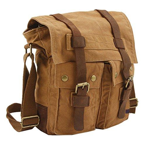 Berchirly Small Canvas Sling Bag Briefcase Mens Messenger Crossbody Belt Bags