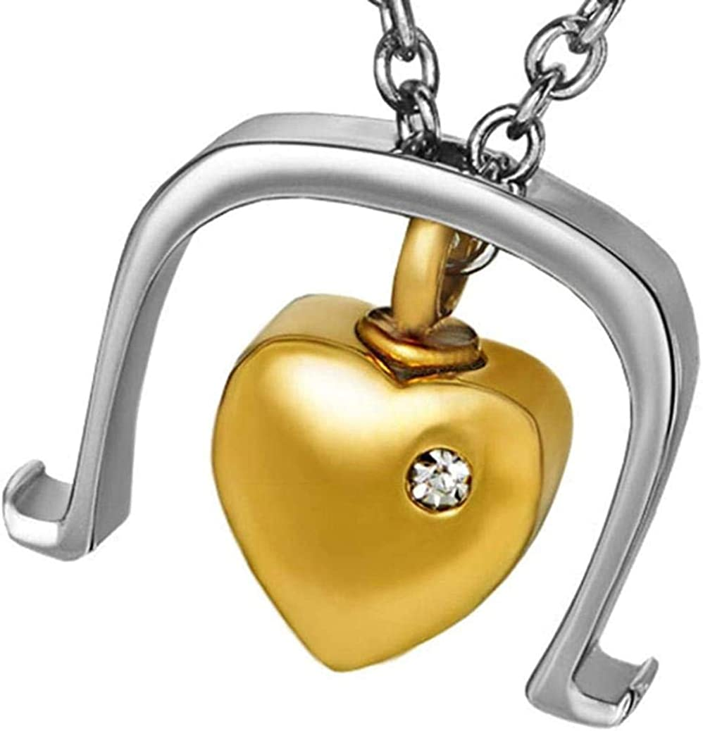 Cremation Memorial Ashes Jewellery Golden Stainless Steel Heart Memorial Urn Charm Necklace for Human Keepsake Ash Pendants Cremation Jewelry Ashes Urns Cremation Keepsake Memorial