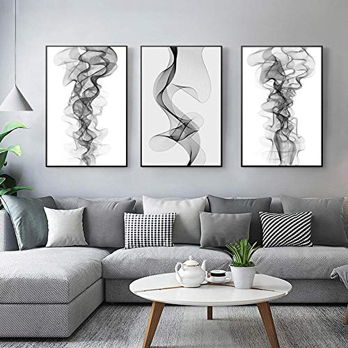 quadri moderni soggiorno interi MULMF Quadri in Tela della Moderna Linea Astratta in Bianco e Nero per Il Tuo Salotto-Modern Split Set di 3 telai-No Frame