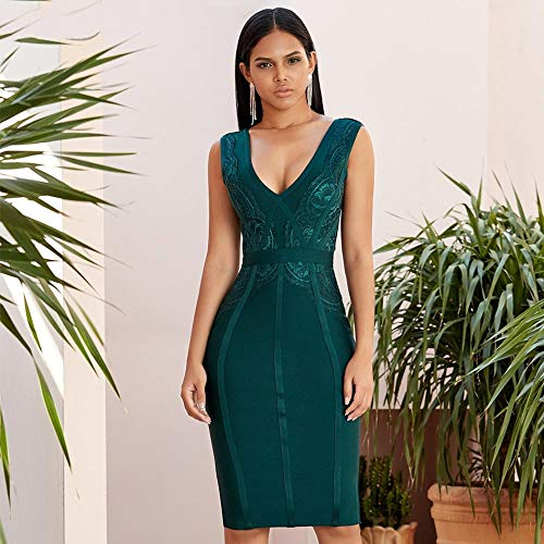 JJHR Kleider Figurbetontes Bandagenkleid WomenSleeveless Lace Green Club Celebrity Abend Party Kleider-Grün_M
