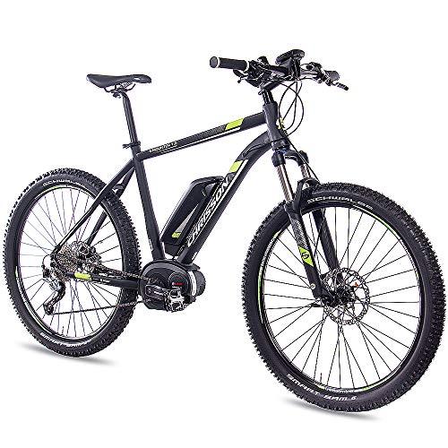 CHRISSON 27,5 Zoll E-Bike Mountainbike - E-Mounter 1.0 schwarz 44cm - Elektrofahrrad, Pedelec für Damen und Herren mit Performance Line Motor 250W, 63Nm - Intuvia Computer und 4 Fahrmodi