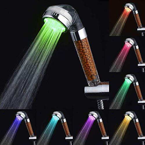 LED Duschkopf Handbrause wassersparend mit Druckerhöhung für mehr Wasserdruck Mit Kalkfilter und Ionenfilter Regendusche und Massage Funktion Brausekopf für Sprühung #2