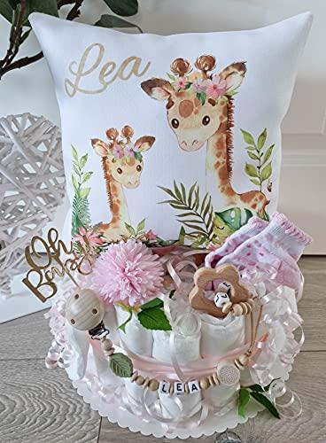 Luiertaart met naam - knuffelkussen Giraffe I fopspeenketting & grijpling - cadeau, babyshower, geboorte of doop + op verzoek gratis wenskaartjes