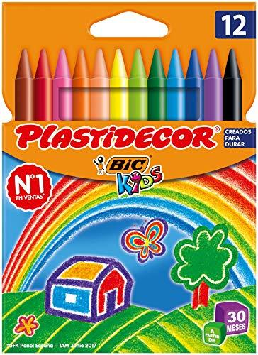 BIC Kids Plastidecor - Ceras para colorear, antimanchas para actividades creativas en casa y el colegio, blíster de 12 unidades, colores surtidos