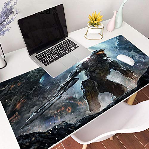 Mouse Pads Extended Mouse pad Halo Gaming Mouse pad Stitched Edges Skid Proof Rubber Base 35.4'x15.7'x0.1'Large Mouse Keyboard Desk Mat for Computer Laptop-39.419.70.1in