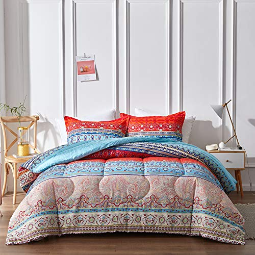 Uozzi Bedding 3 Piece Bohemian Style Comforter Set with Tribal Blue Printed, Reversible Brushed Microfiber, Lightweight Soft, Comfortable, Durable (Queen, 90x90)