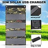 HMLIGHT Panneau Solaire Pliable Chargeur 20W USB Panneaux solaires Pliant Portable étanche Panneau Solaire Chargeur Banque d'alimentation pour téléphone Chargeur de Batterie + 2X Carabiner,Camouflage