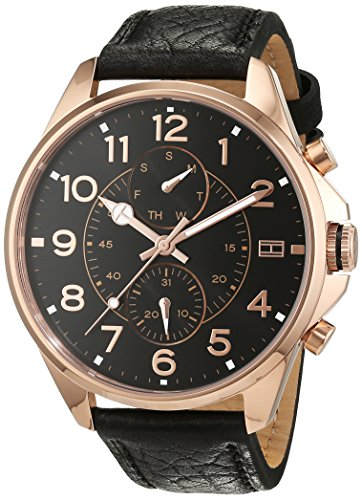 Tommy Hilfiger Herren Analog Quarz Uhr mit Leder Armband 1791273