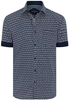 Tarocash Men's Cubic Geo Print Shirt Regular Fit Long Sleeve Sizes XS-5XL for Going Out Smart Occasionwear