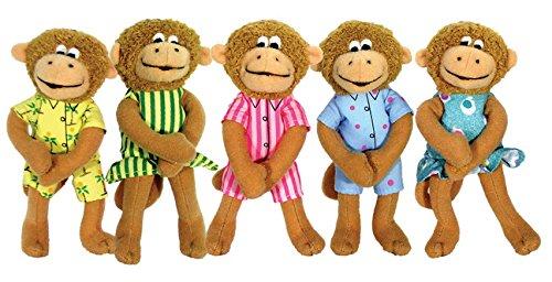 MerryMakers Five Little Monkeys Finger Puppet Playset, Set...