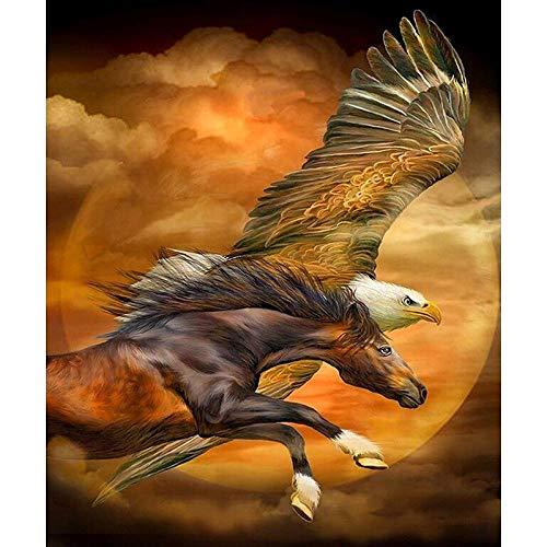 MENGBB 5D Diamantschilderij DIY Eagle Running Horse Schilderij Kruissteek op nummer Kit Home Wanddecoratie Mozaïek 60x80cm