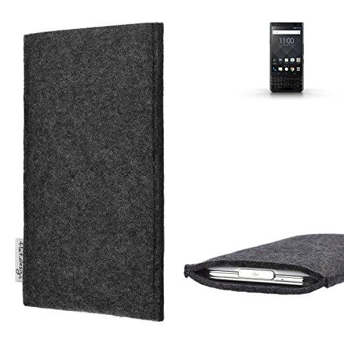 flat.design Handy Hülle Porto kompatibel mit BlackBerry KEYone Black Edition handgefertigte Handytasche Filz Tasche Schutz Hülle fair dunkelgrau