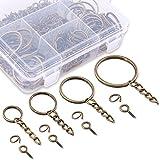 Swpeet 300Pcs Bronze Key Chain Rings Kit, 100Pcs Keychain Rings with Chain and 100Pcs Jump Ring with 100Pcs...