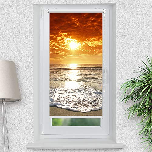 La-Melle » Rollo Motiv Meer Sonnenuntergang   Verschiedene Größen   Klemmrollo ohne Bohren   auch für Wand- oder Deckenbefestigung, Größe: B 60 x H 120 cm