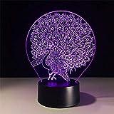 HOHHJFGG Pavo real 7 colores luz 3D toque creativo luz de escritorio acrílico luz nocturna USB LED luz 3D para niños regalos y juguetes