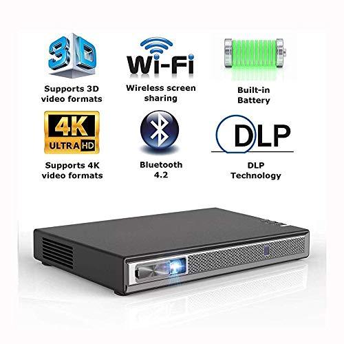 WYZXR Praktischer Projektor 6600s Unterstützt 4K-leistungsstarke Lautsprecher 35-Stunden-Wiedergabe Drahtlose Bildschirmfreigabe Tragbare 3D-Dual-WiFi-Bluetooth-Festplatte