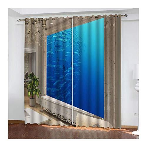 Knbob Polyester Vorhang Blau Ozean Wandbild Vorhänge Wohnzimmer Größe 264x183CM