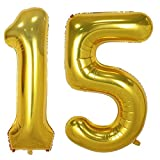 40inch Gold Foil 15 Helium Jumbo Digital Number Balloons, 15th Birthday Decoration for Girls or Boys, sweet 15 Birthday Party Supplies
