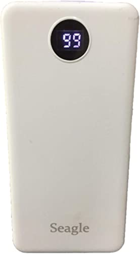 Seagle 15000 mAh Li Polymer Power Bank USB Type C and Micro USB Ports 18W Fast Charging White