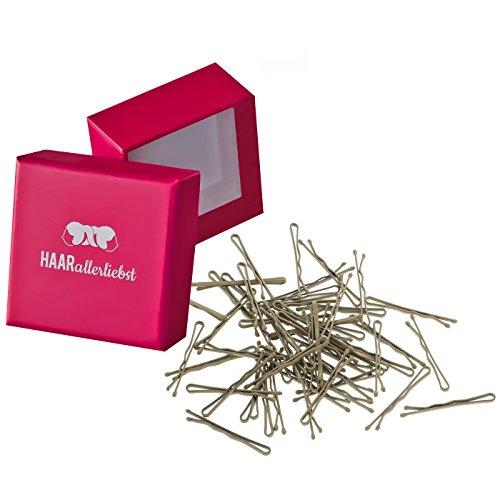 HAARallerliebst 50 Mini Haarklammern Haarnadeln Bobby Pins kurz beige für Blonde Haare 3,4cm klein in Pinker Box (Schachtelfarbe: Pink)