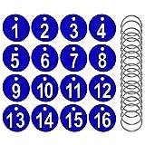 AFASOES 50 Pcs Etiquetas Numeradas Número 1-50 Llavero Numeros Etiquetas de Plástico Numeradas, Etiquetas Numeradas para Clasificar Llaves Perchas para Taquillas Hoteles Pubs Spa, 3.5 cm, Color Azul