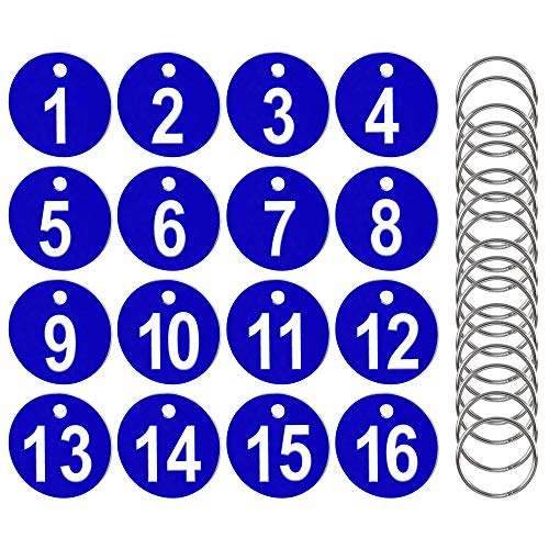 AFASOES 50 Pcs Etiquetas Numeradas Número 1-50 Llavero Numeros Etiquetas de Plástico Numeradas, Etiquetas Numeradas para Clasificar Llaves Perchas para Taquillas Hoteles Pubs Spa, 3.5 cm, Colo