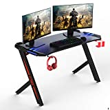 Gaming Desk 57 inch with LED Light & Cup Holder & Headphone Hook &Powerful Cabling Management
