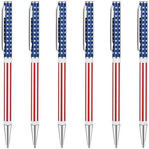 Unibene Slim Metal Retractable Ballpoint Pens Bulk of 6 Count, Patriotic American Flag for Swat, Veteran, Promotion, Graduation, Planner, Medium Point(1 mm Black Ink), School and Office Supplies