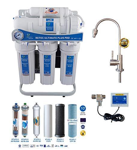 Retec Osmoseanlage 600 GPD Perfect Water No. 1 Ultimate Plus PRO Mod. 2020 Direct Flow kein Tank nötig Umkehrosmosewasserfilter Wasserfilter Trinkwasser Umkehrosmose Reverse Osmosis