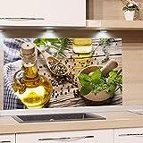 GRAZDesign Spritzschutz Glas für Küche Herd, Bild-Motiv grün Kräuter Gewürze Provinz mediterran, Küchenrückwand Glas Küchenspiegel Glasrückwand / 80x60cm