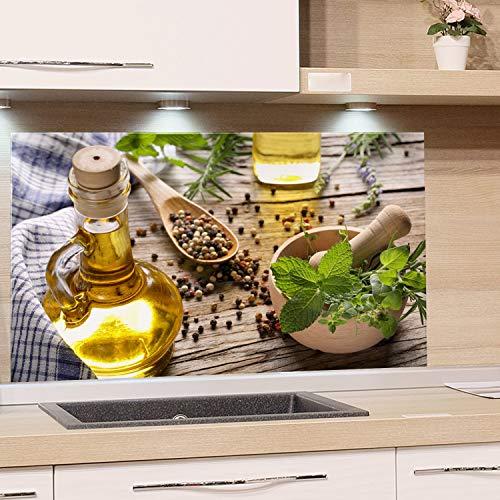 GRAZDesign Spritzschutz Glas für Küche Herd, Bild-Motiv grün Kräuter Gewürze Provinz mediterran, Küchenrückwand Glas Küchenspiegel Glasrückwand / 80x50cm