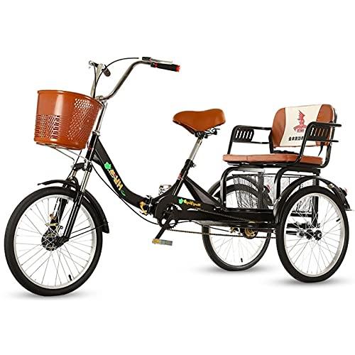 zyy Dreirad für Erwachsene Einzelne Geschwindigkeit 20-Zoll-Dreirad Zusammenklappbar und Einkaufskorb Fahrrad Freizeit Gemüsekorb Wagen Lastenfahrrad Senioren Shopping Bike (Color : Black)