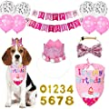 Dog Birthday Pink Flower Crown Hat Triangle Scarf Cute Cat and Dog Headdress Bow Tie Cat and Dog Celebration Birthday Balloon Banner Set, Small Medium Pet Birthday Party Decoration Supplies